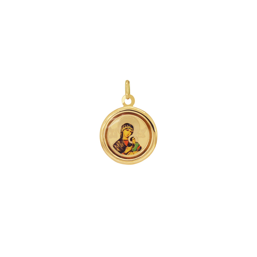 18K Italian Gold Necklace With Our Mother of Perpetual Help Image Pendant