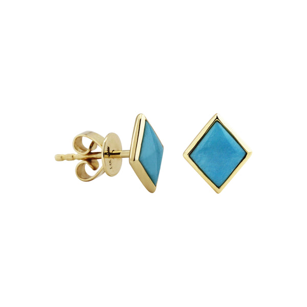 Rhombus Turquoise Stud Earrings in 14K Yellow Gold