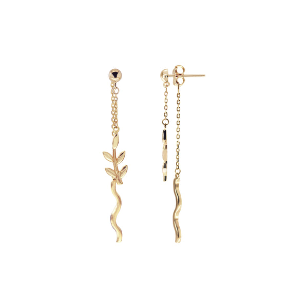 18K Saudi Gold Leaves Dangling Earrings