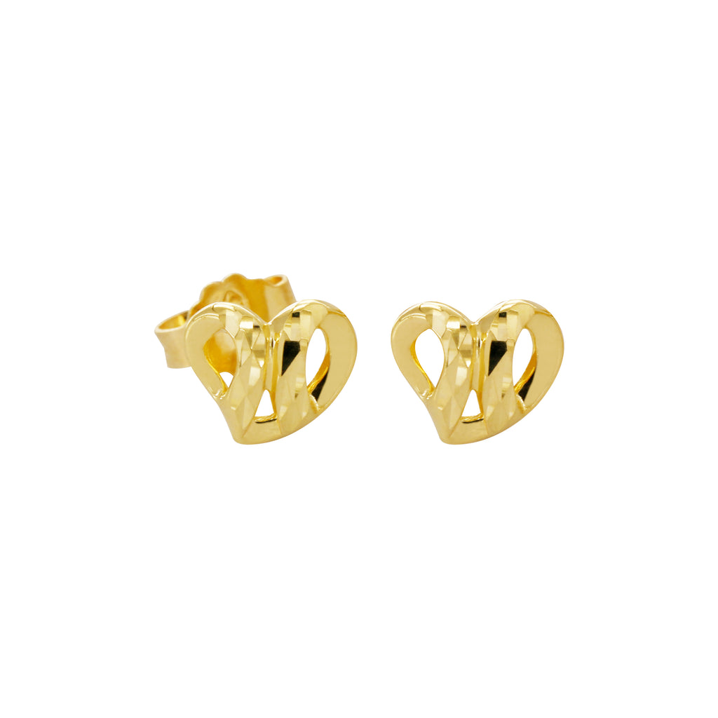 18K Saudi Gold Heart Stud Earrings