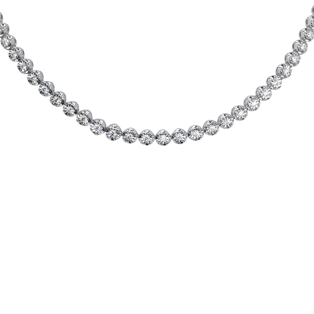 Tennis Diamond Necklace in 18K White Gold
