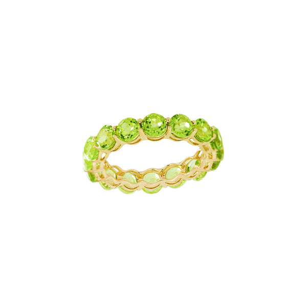 Round Peridot Full Eternity Ring in 14K Yellow Gold