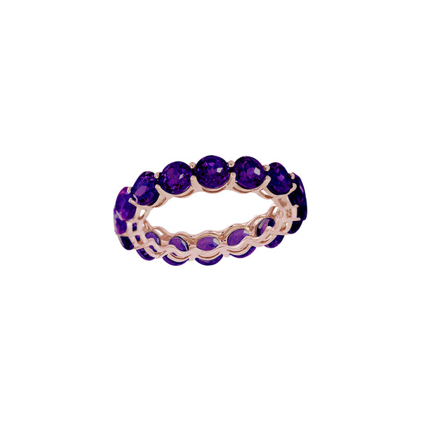 Round Amethyst Full Eternity Ring in 14K Rose Gold
