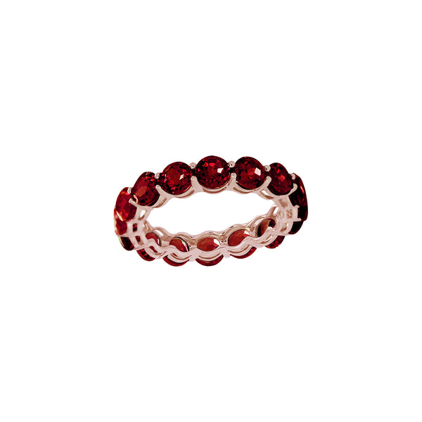 Round Garnet Full Eternity Ring in 14K Rose Gold