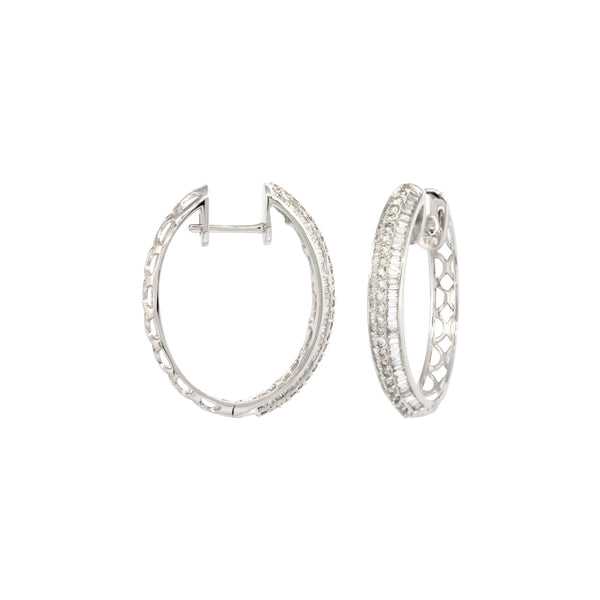 Bagguettes Diamond Oval Hoops Earrings in 18K White Gold