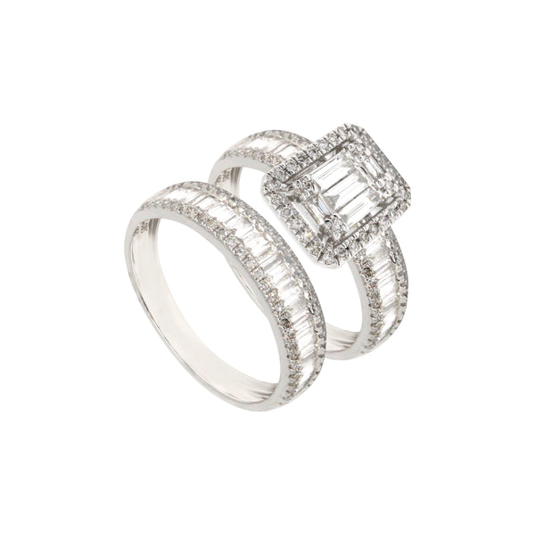 2-in-1 Emerald-Cut Solitaire and Baguette Diamond Eternity Ring in 14K White Gold