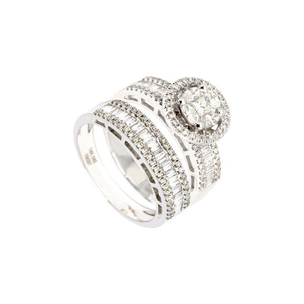 2-in-1 Marquise with Halo Solitaire and Baguette Diamond Eternity Ring in 14K White Gold