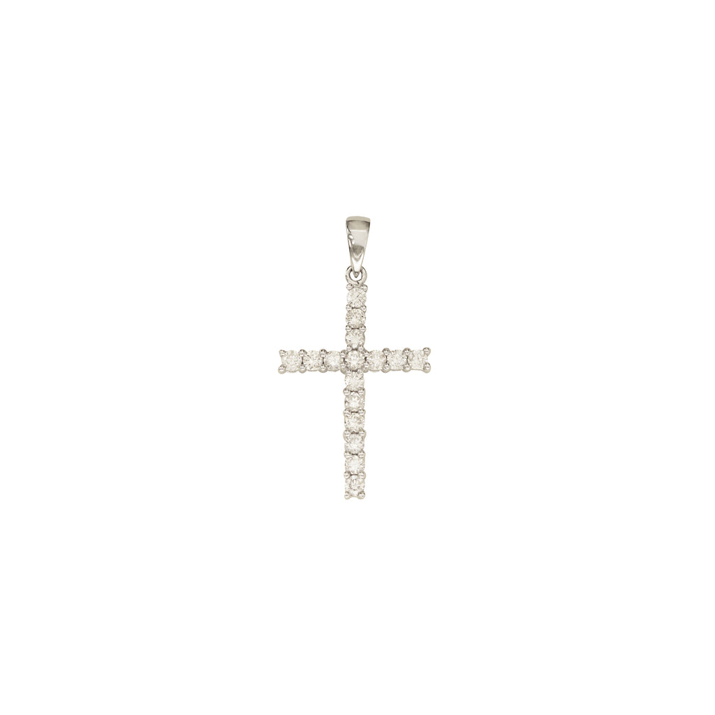 Cross Diamond Pendant in 18K White Gold