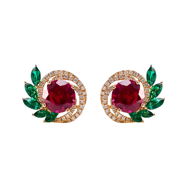 Ruby and Emerald Stud Earrings in 18K Yellow Gold