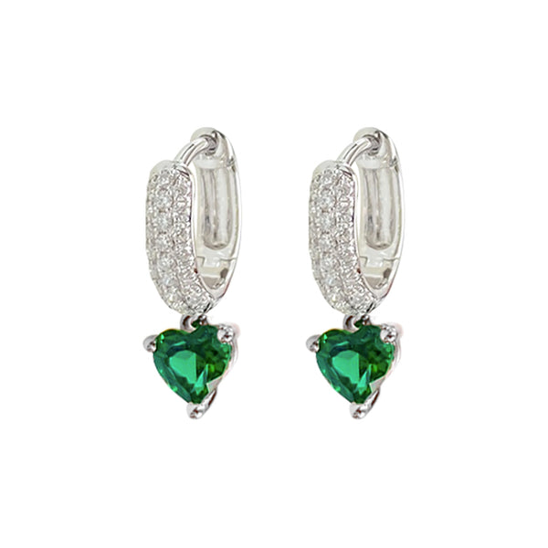 Heart Emerald Dangling Earrings in 18K White Gold
