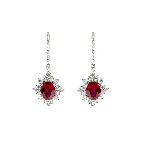 Oval Ruby Dangling Earrings in 18K White Gold