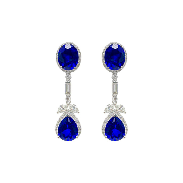 Sapphire Dangling Earrings in 18K White Gold