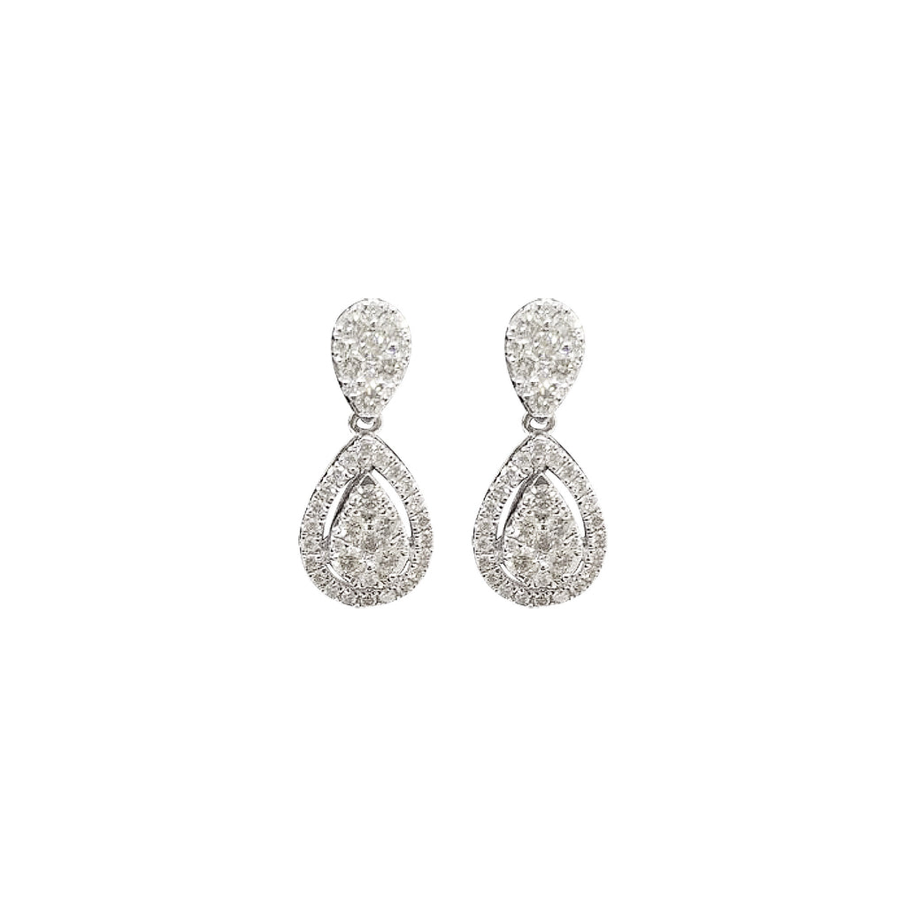 Teardrop Diamond Dangling Earrings in 18K White Gold