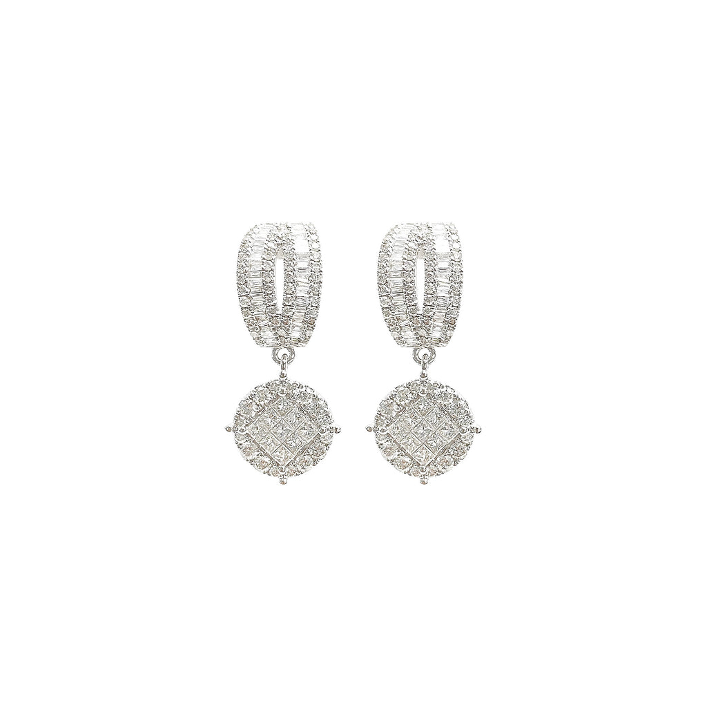 Round Illusion Diamond Dangling Earrings in 14K White Gold