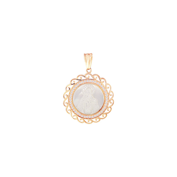 18K Italian Gold Rounded Mother of Pearl Miraculous Mary with Cubic Zirconia Pendant