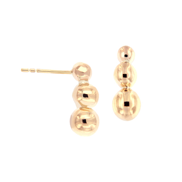 14K Italian Gold Ball Crawler Earrings