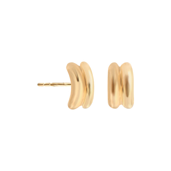 14K Italian Gold Double Band Kids Stud Earrings