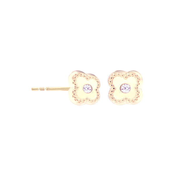 14K Italian Gold Clover with Cubic Zirconia Kids Stud Earrings