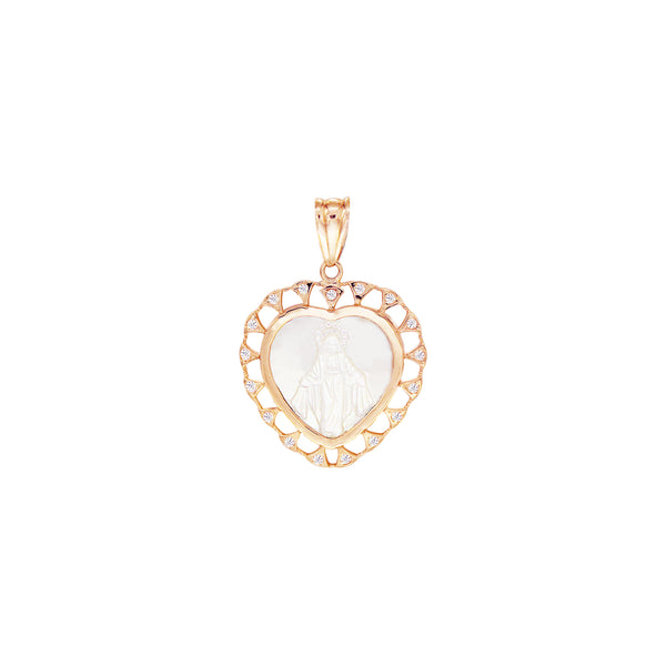 18K Italian Gold Heart Mother of Pearl Miraculous Mary with Cubic Zirconia Pendant