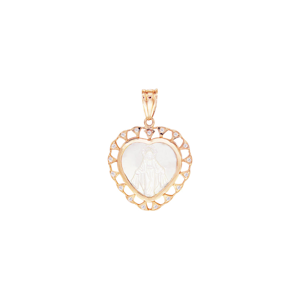 14K Italian Gold Heart Mother of Pearl Miraculous Mary with Cubic Zirconia Pendant