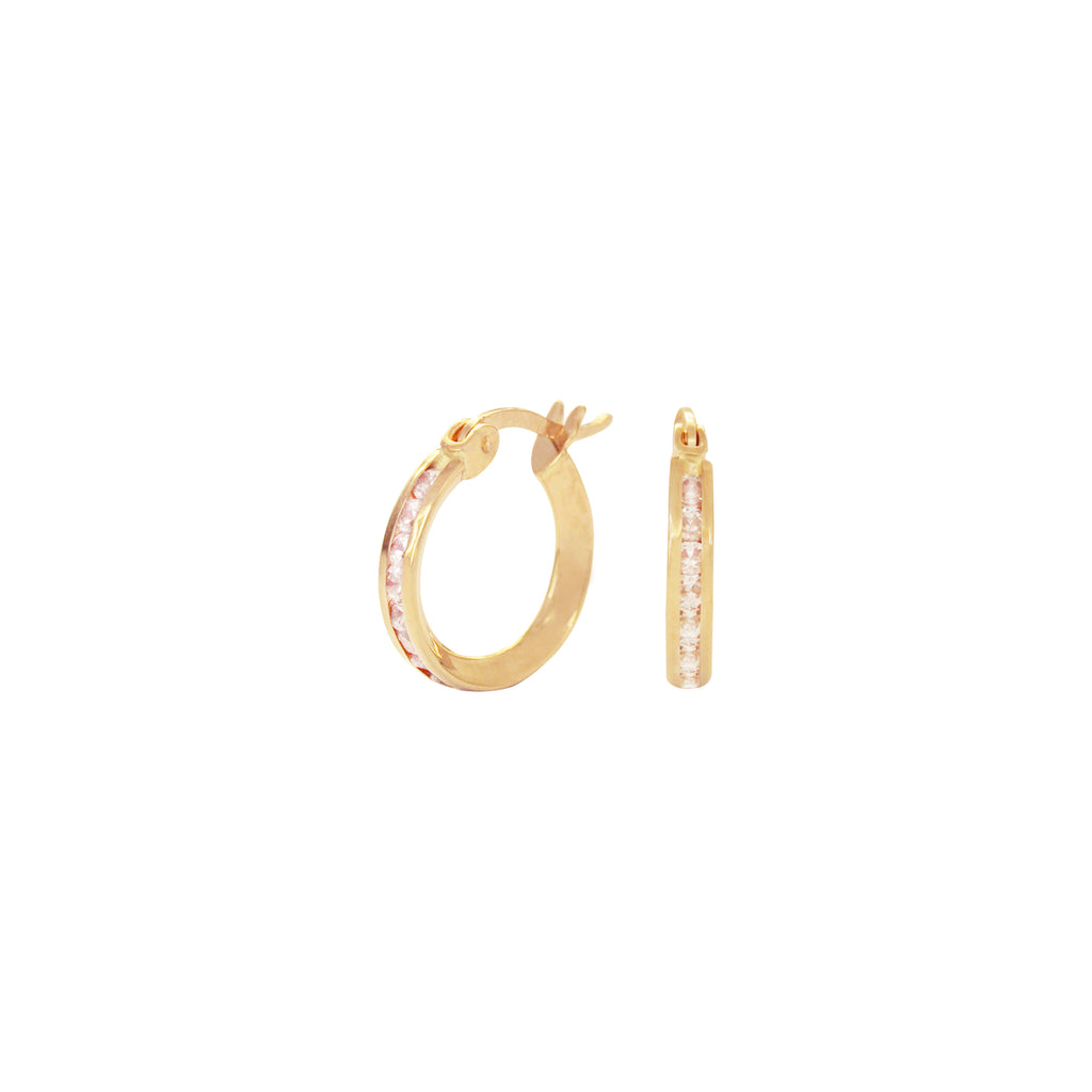 18K Saudi Gold Hoop Earrings with Cubic Zirconia