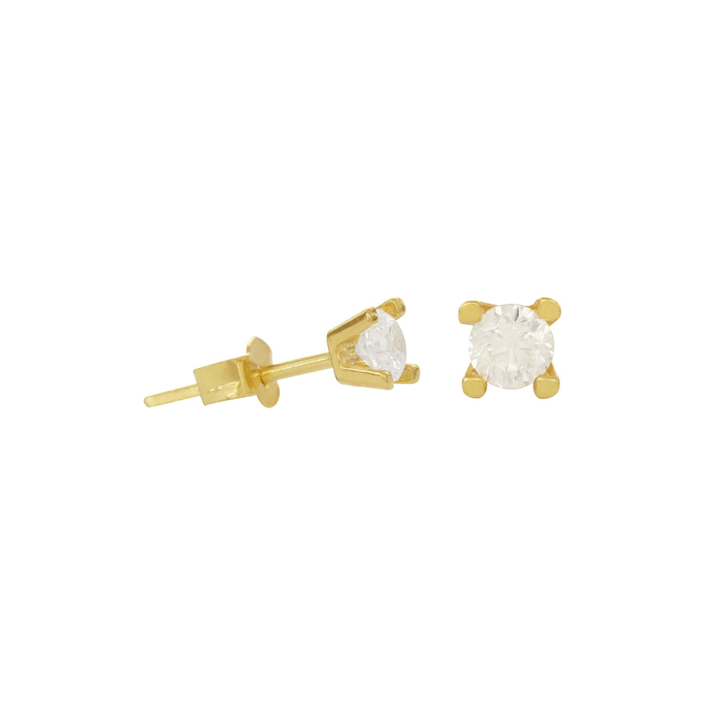 18K Saudi Gold Round Cubic Zirconia Stud Earrings
