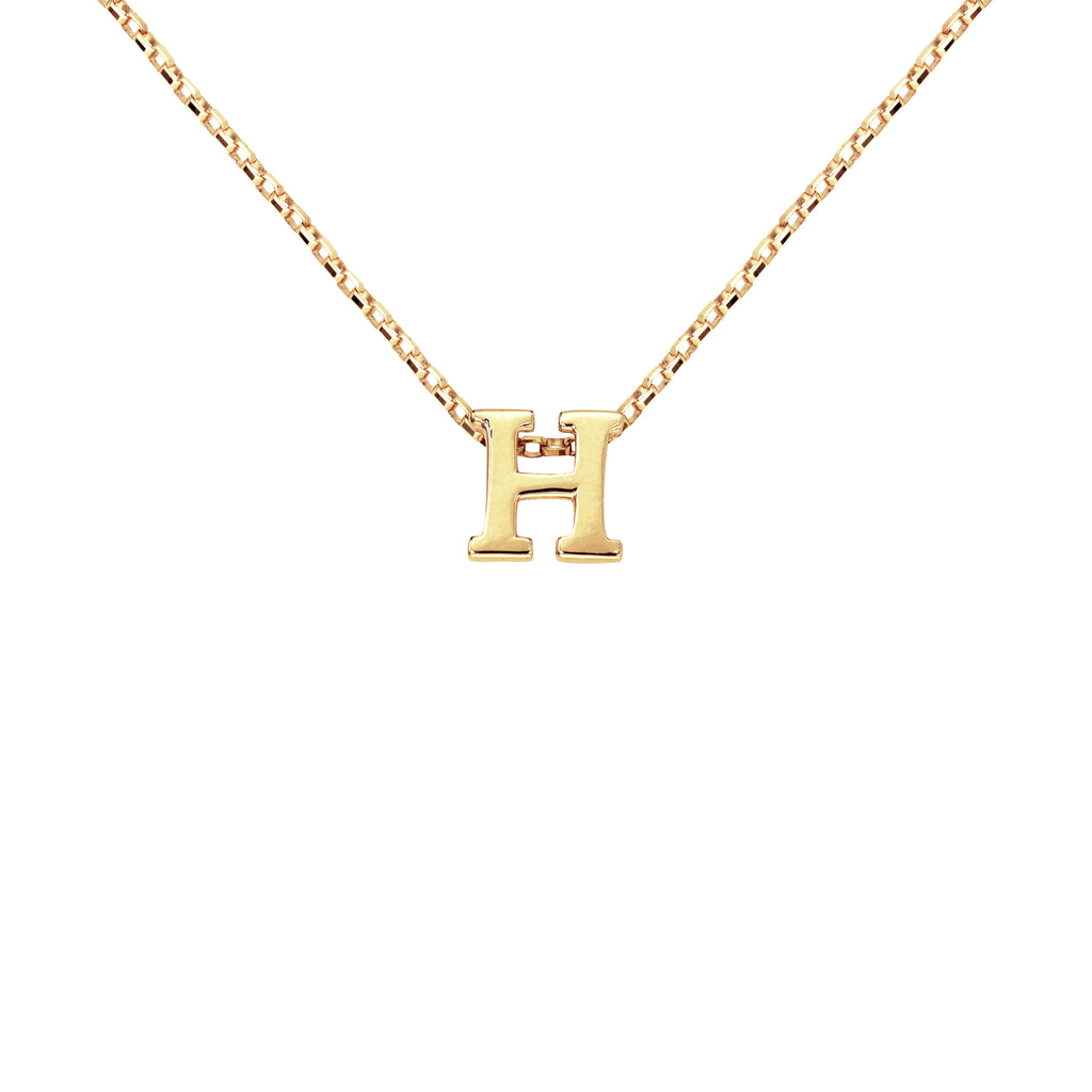 18K Saudi Gold Initial H Charm Necklace