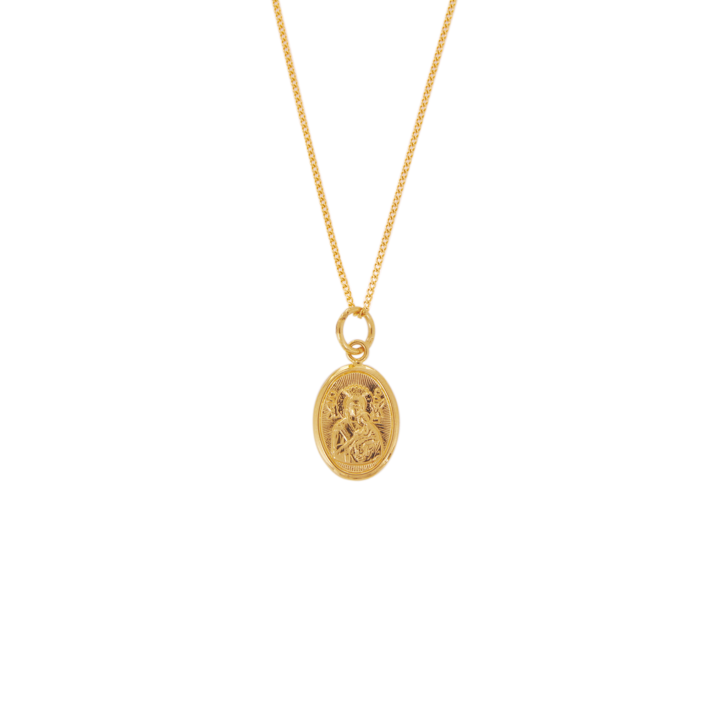 18K Chinese Gold Necklace with Oval Image Pendant