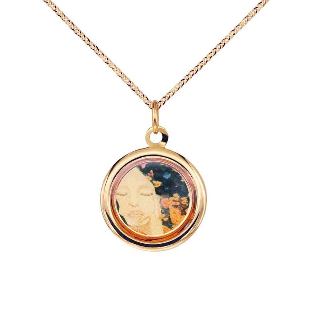 18K Italian Gold Necklace with The Modern Muse Collection Golden Pendant