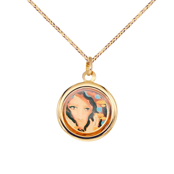 18K Italian Gold Choker with Muted Euphoria Heart Collection Pendant