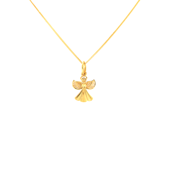 18K Saudi Gold Choker with Angel Pendant