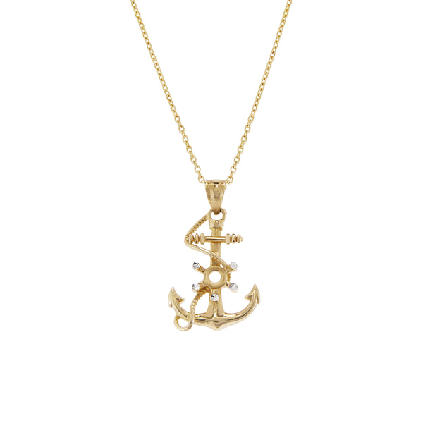 14K Italian Gold Choker with Anchor Pendant