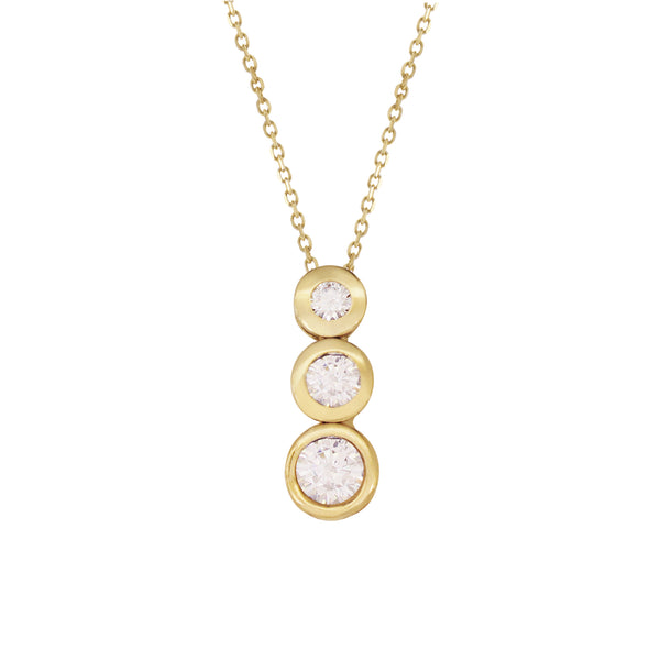 18K Italian Gold Graduated Linear Cubic Zirconia Necklace