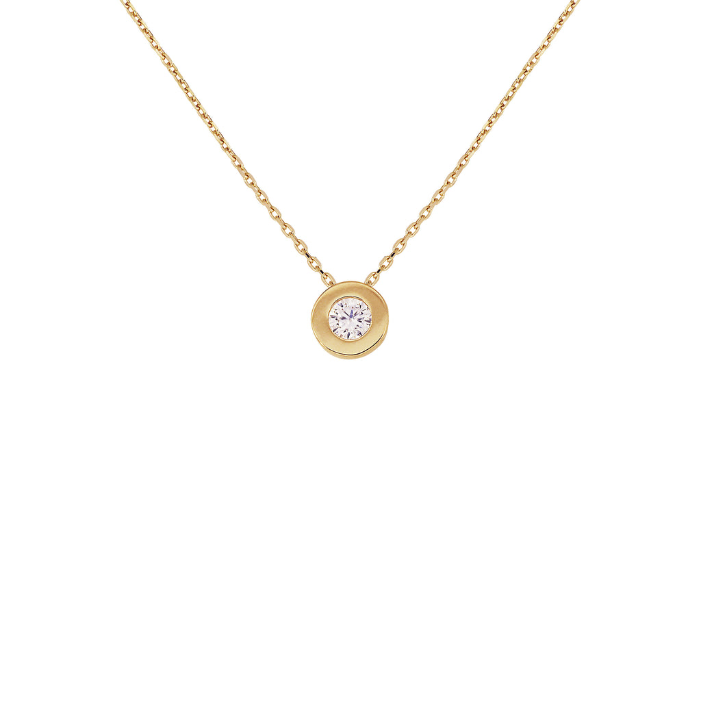 18K Saudi Gold Necklace with Cubic Zirconia Round Charm