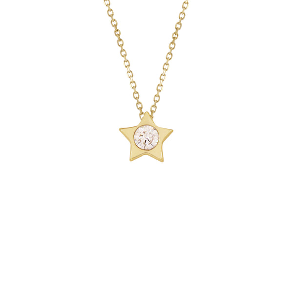 18K Italian Gold Star with Cubic Zirconia Choker