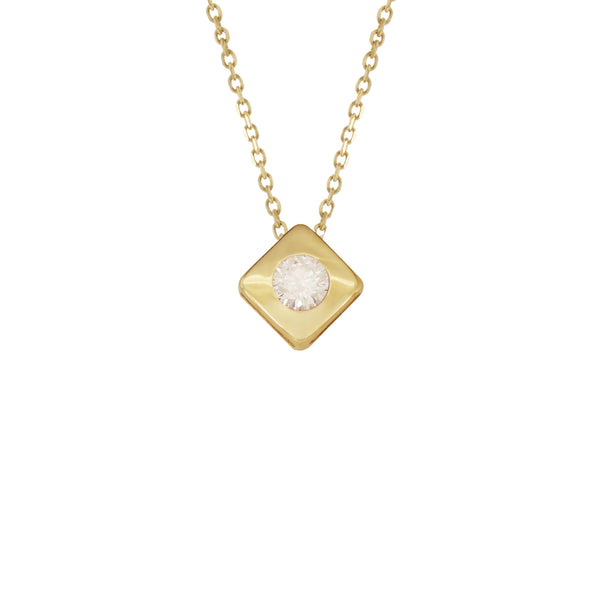 18K Italian Gold Graduated Square with Cubic Zirconia Necklace