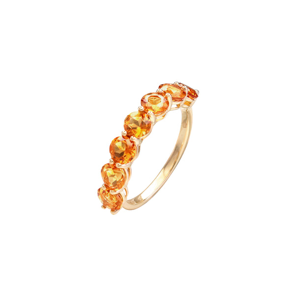 Round Citrine Half Eternity Ring in 14K Yellow Gold