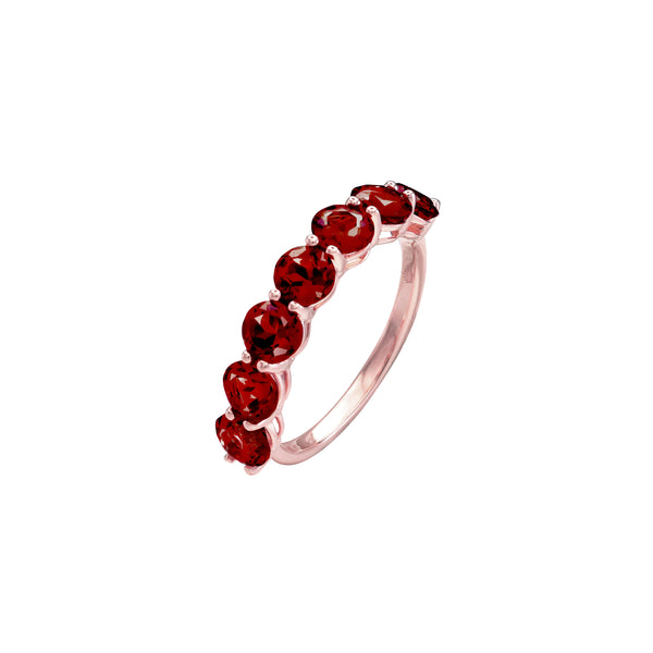 Round Garnet Half Eternity Ring in 14K Rose Gold