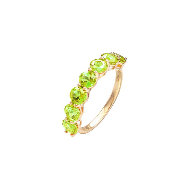 Round Peridot Half Eternity Ring in 14K Yellow Gold