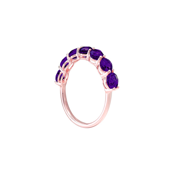 Round Amethyst Half Eternity Ring in 14K Rose Gold