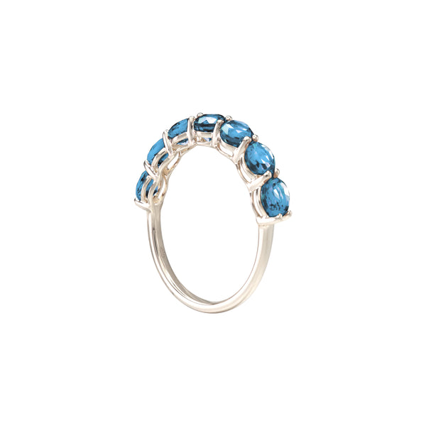 Round Blue Topaz Half Eternity Ring in 14K White Gold