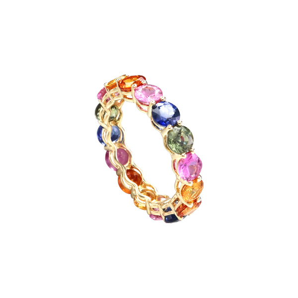 Round Rainbow Sapphire Full Eternity Ring in 14K Yellow Gold
