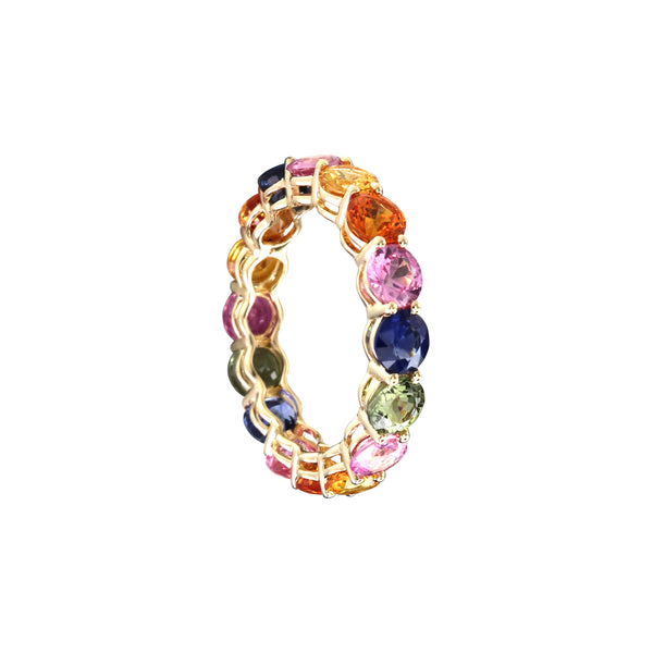 Multicolor Round Sapphire Full Eternity Ring in 14K Yellow Gold