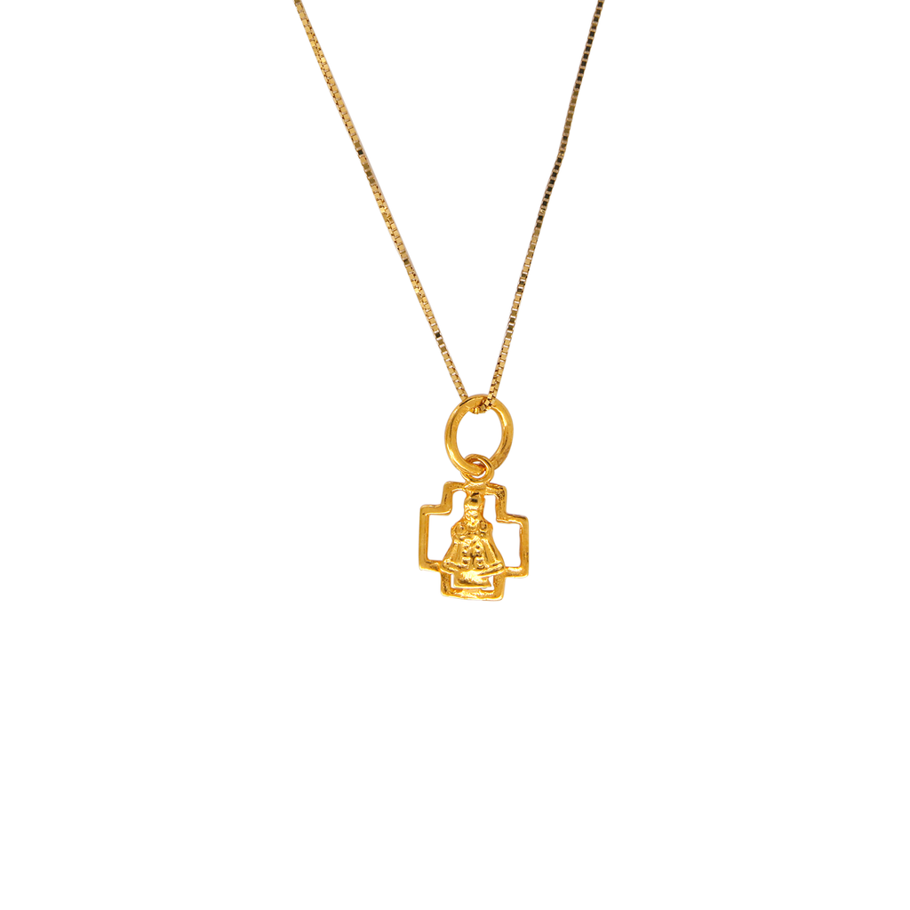 18K Chinese Gold Necklace with Sto Nino in Cross Charm