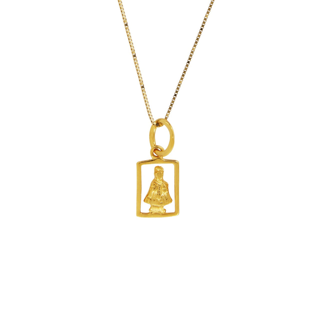 18K Chinese Gold Necklace with Sto Nino Charm