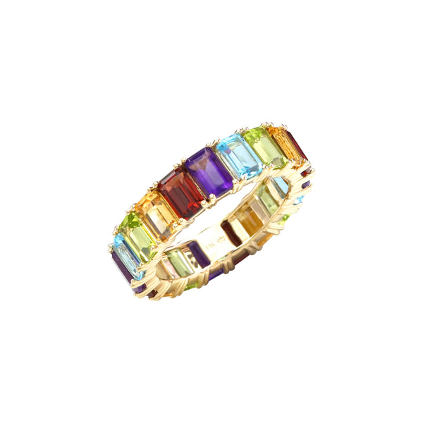 Multicolor Emerald Cut Gemstones Full Eternity Ring in 14K Yellow Gold