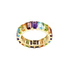 Emerald-Cut Rainbow Gemstones Full Eternity Ring in 14K Yellow Gold