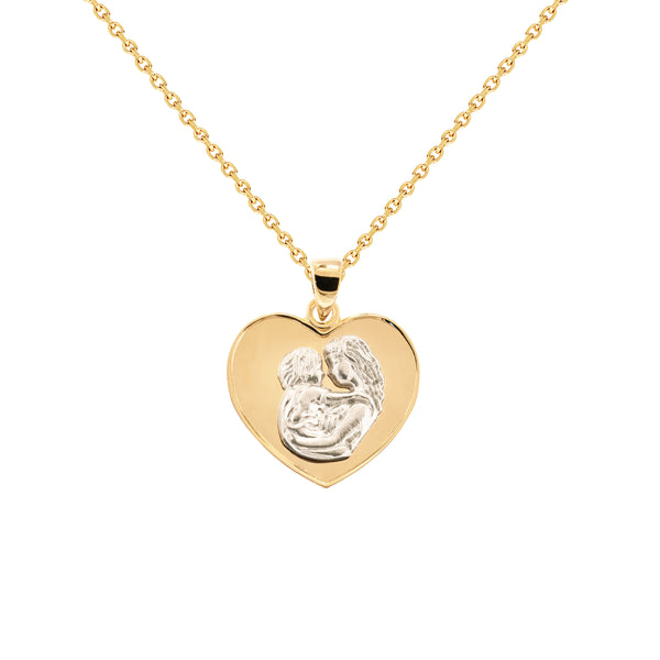 18K Saudi Gold Necklace with Mother & Child Love Charm