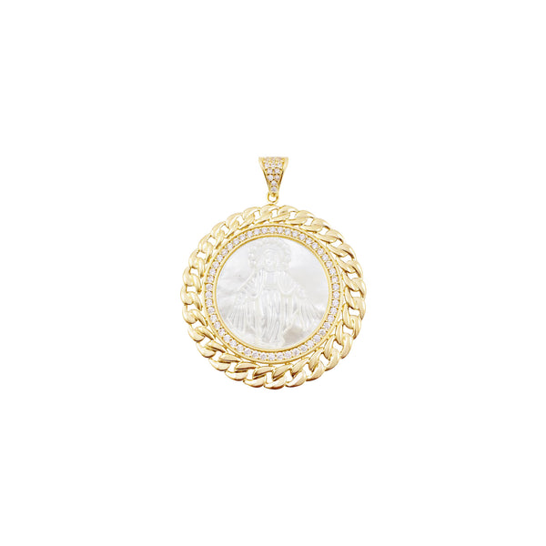 14K Italian Gold Rounded Mother of Pearl Miraculous Mary with Cubic Zirconia Pendant