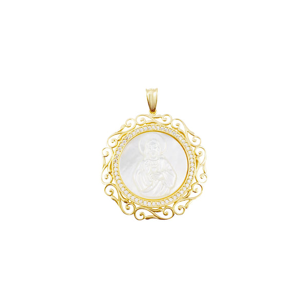 14K Italian Gold Rounded Mother of Pearl Sacred Heart of Jesus with Cubic Zirconia Pendant